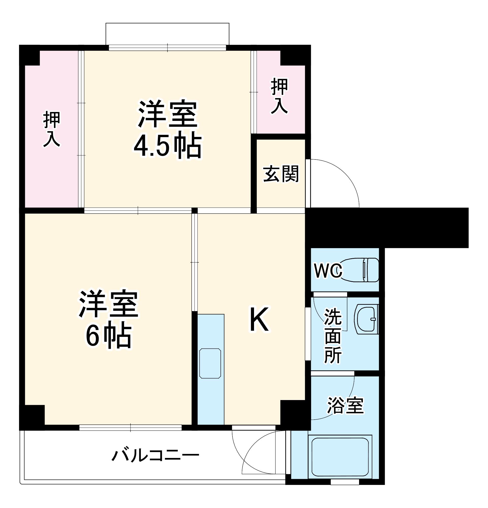 ビレッジハウス浜岡2号棟・506号室の間取り