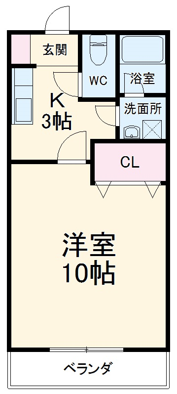 クレール新富・105号室の間取り