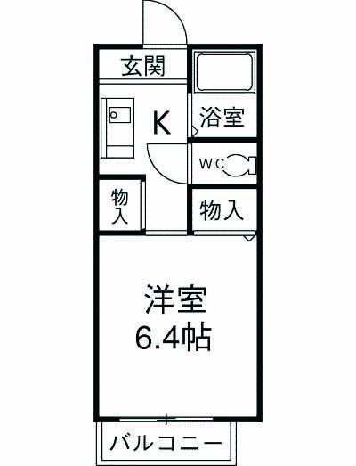 ハイツKOUNAN・206号室の間取り