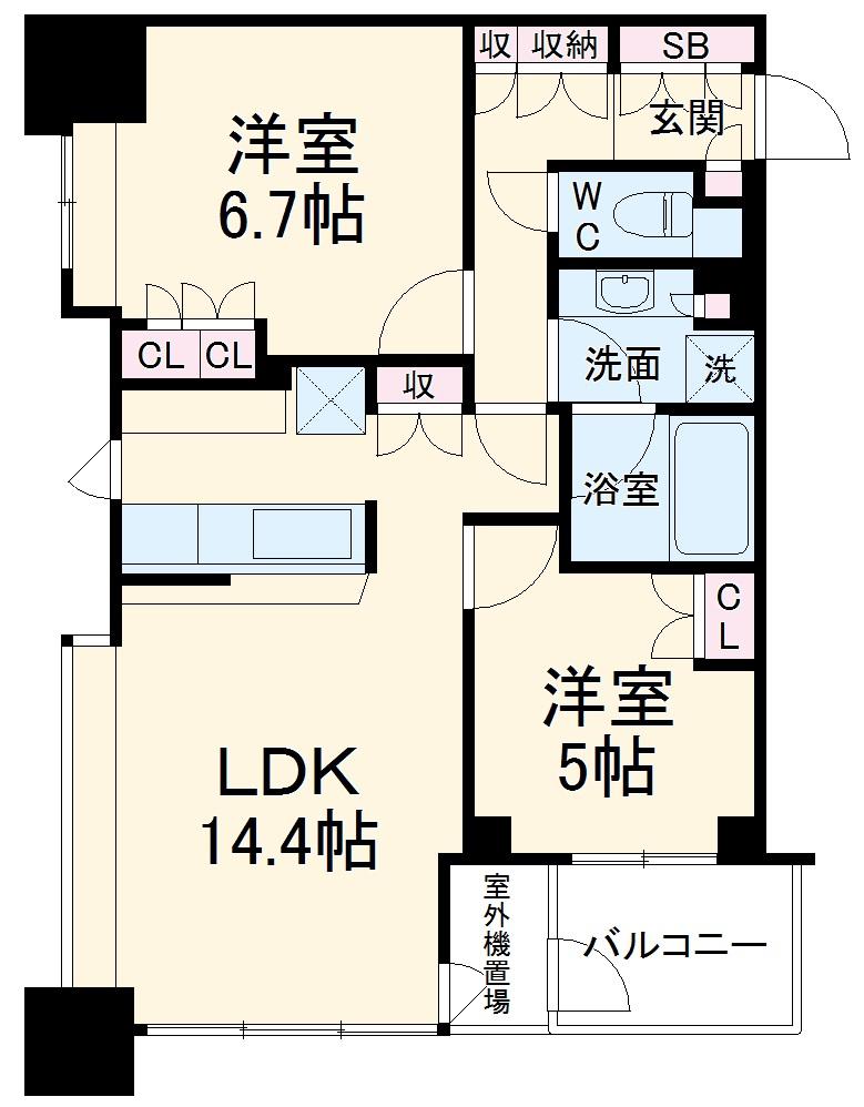 エクラスタワー武蔵小杉・1509号室の間取り
