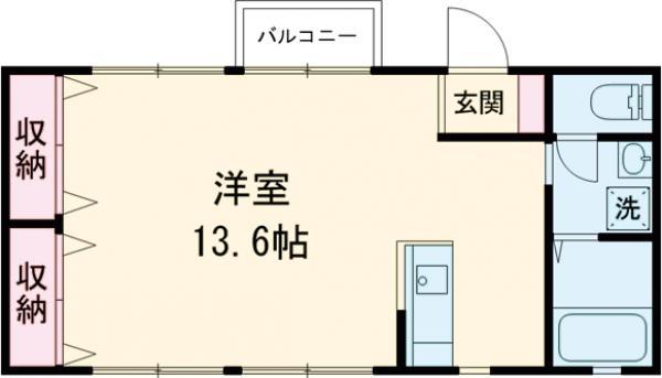 スタジオゴルド・103号室の間取り