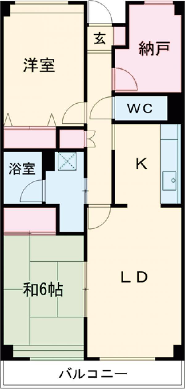 東雪谷マンション・402号室の間取り