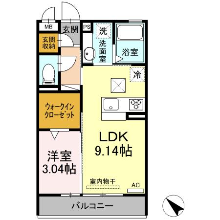 D-room吉津屋町・102号室の間取り