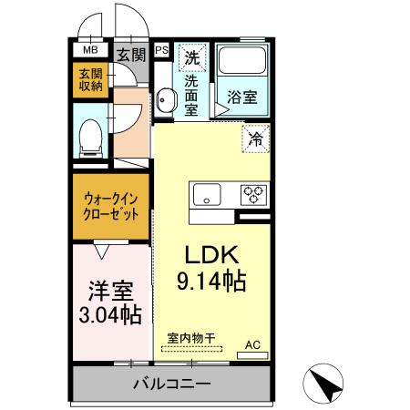 D-room吉津屋町・203号室の間取り