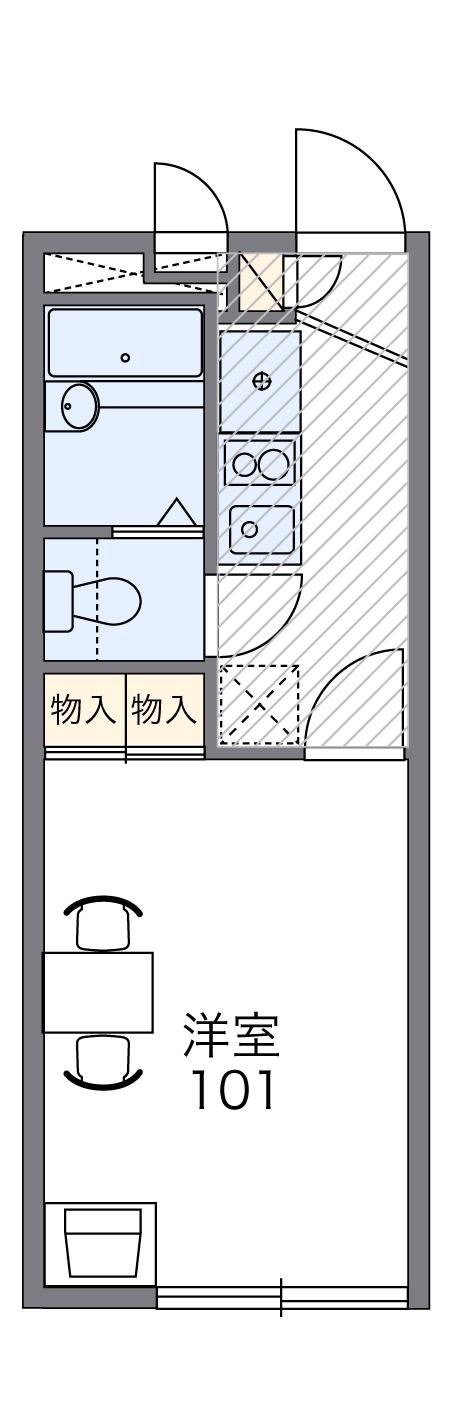 レオパレスSUN鈴木町・102号室の間取り