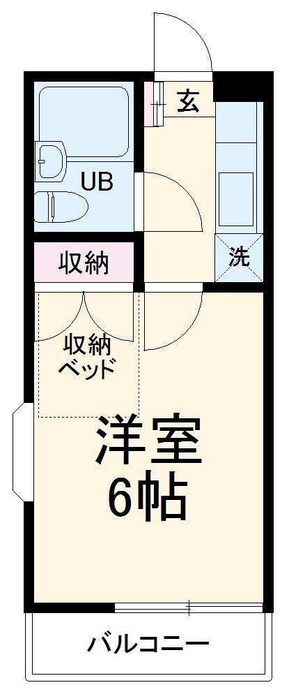 ラルーチェ姫宮・107号室の間取り