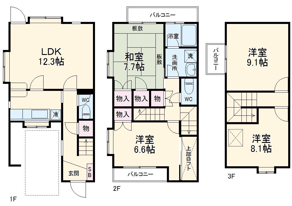 東寺尾中台テラスハウス・1号室の間取り