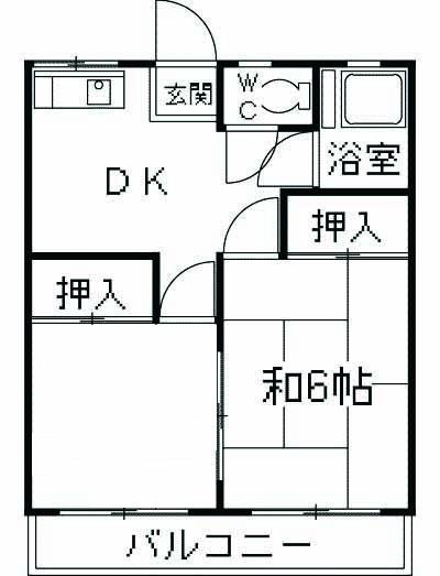 福寿荘・1-D号室の間取り