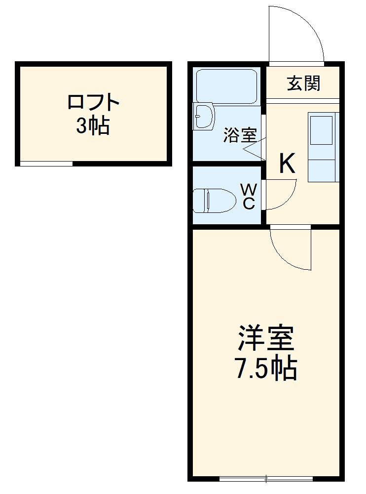 マリオ笹川 B棟・202号室の間取り