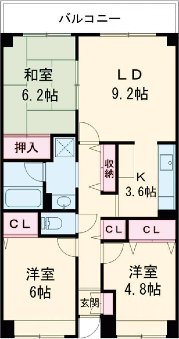 目黒本町マンション・202号室の間取り