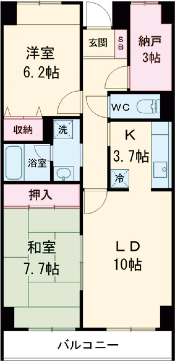 目黒本町マンション・307号室の間取り