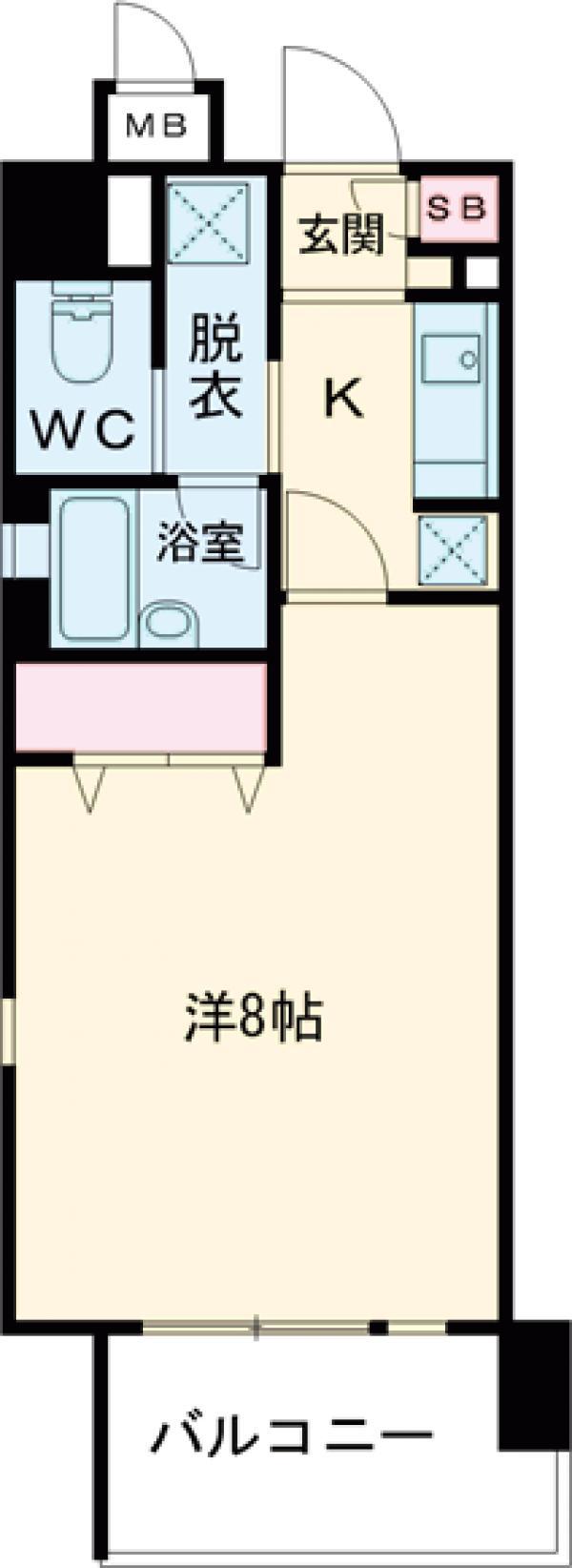 アボリアスコート笹塚イースト・216号室の間取り