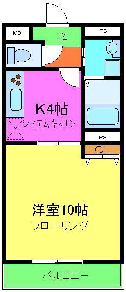 アムールKATAKURA・202号室の間取り