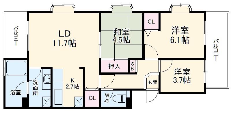 湘南武山シーサイドハイツ・501号室の間取り
