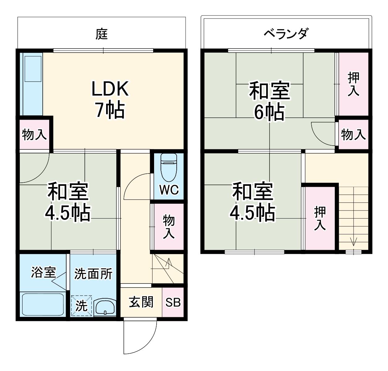 テラスハウス増田・B号室の間取り