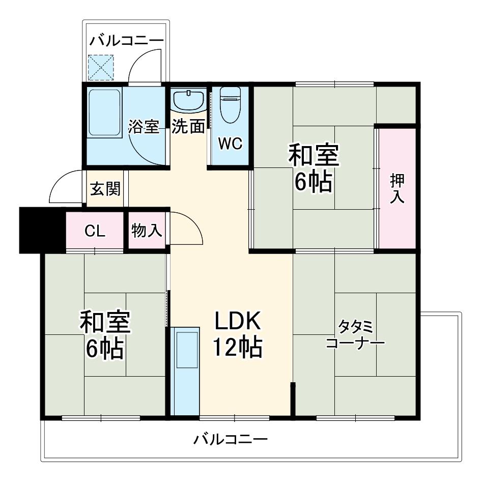 円明寺が丘北第3住宅団地・F号室の間取り