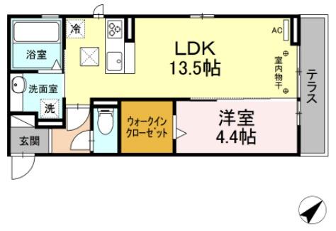 (仮)D-room茂福・102号室の間取り