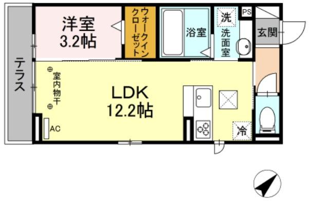 (仮)D-room茂福・105号室の間取り