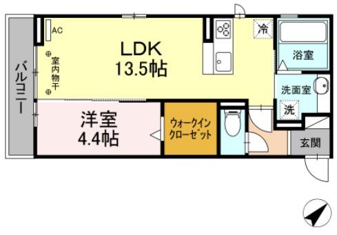 (仮)D-room茂福・203号室の間取り