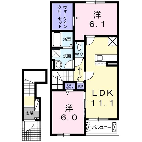 西福俵アパート(025977901)・02030号室の間取り