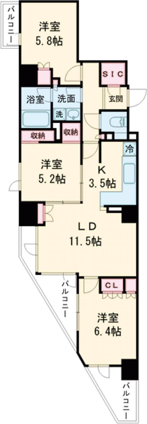 プライムアーバン新宿夏目坂タワーレジデンス・702号室の間取り