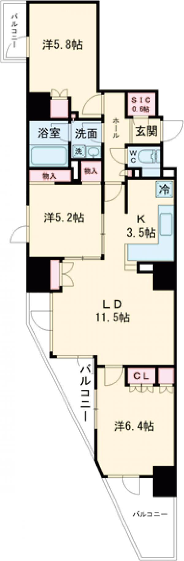 プライムアーバン新宿夏目坂タワーレジデンス・1302号室の間取り