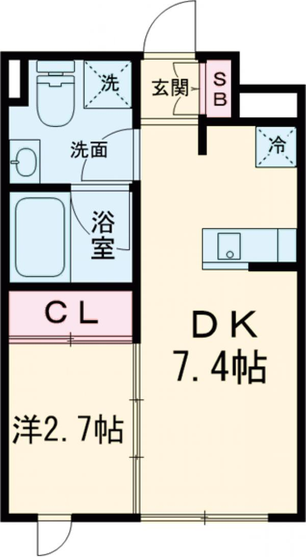 ラ・ぺルラ池尻大橋Ⅱ・102号室の間取り