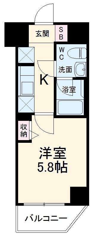 ラフィスタ横浜吉野町・203号室の間取り