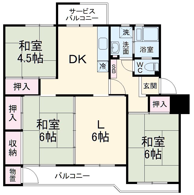 鎌ヶ谷グリーンハイツ37号棟・401号室の間取り