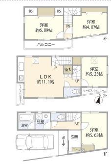 北区赤羽西4丁目住宅・1号室の間取り