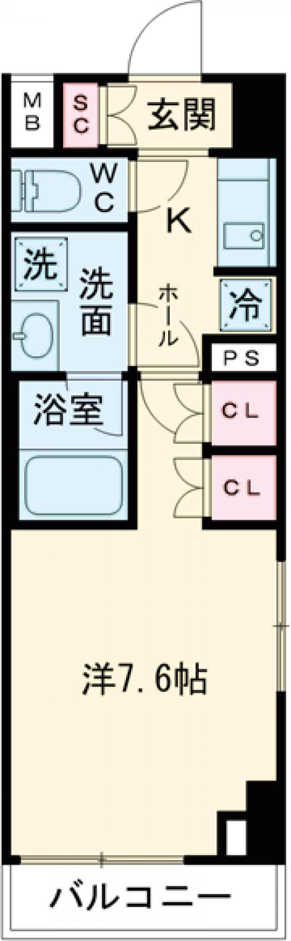 プレール・ドゥーク世田谷代田・608号室の間取り