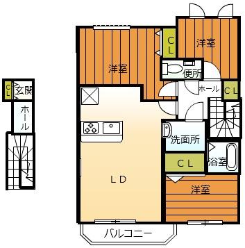 Casa di otto 富木・205号室の間取り