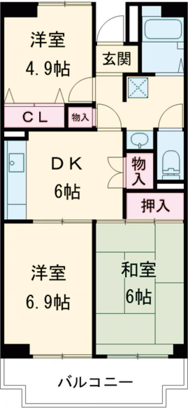 リバーサイドMAKIBA・102号室の間取り