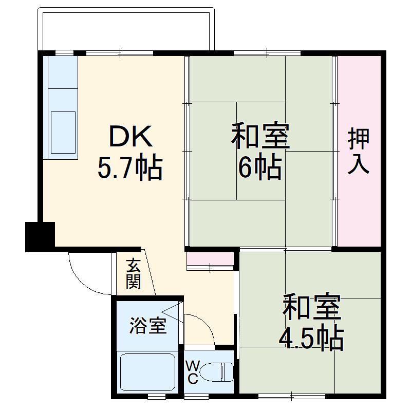 浦賀共同住宅10号棟・1036号室の間取り