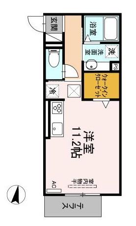 (仮 GRAND D-room京町 102号室の間取り