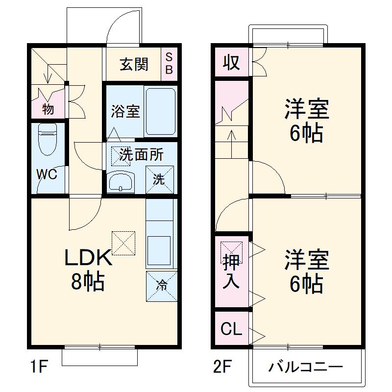 S・K・K桜川ハイツ 伍番館 102号室の間取り