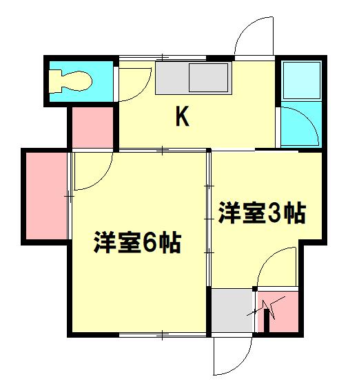 植村荘・1号室の間取り