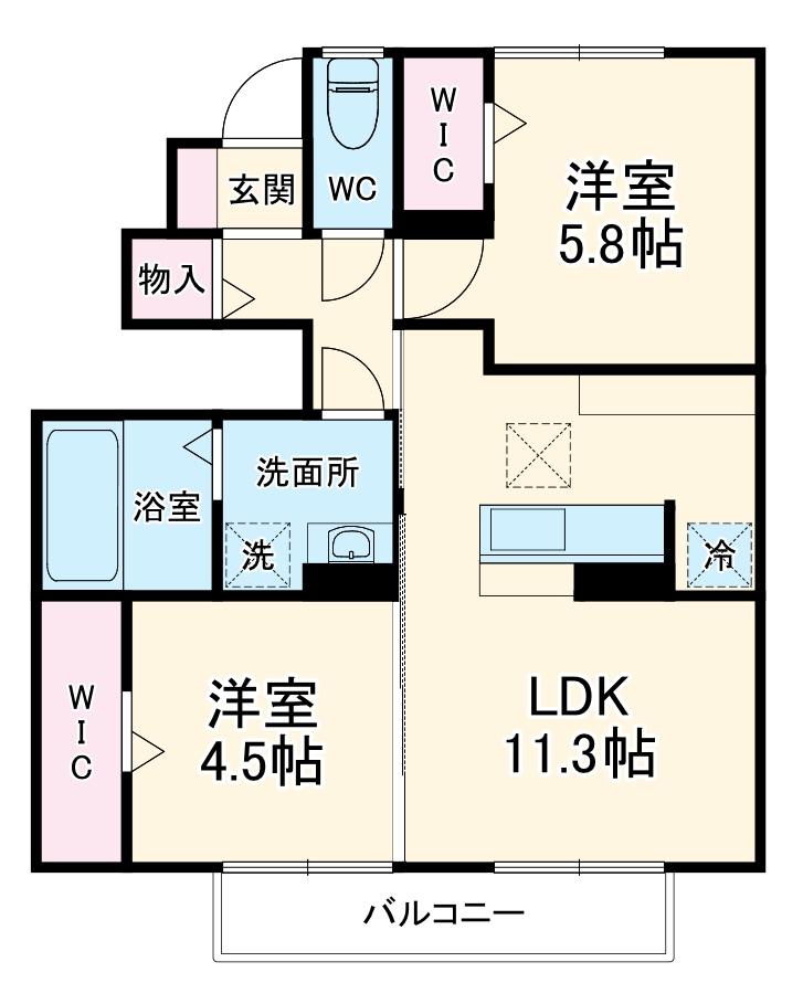 (仮)D-room大成町・102号室の間取り