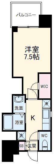 エステムコート名古屋平安通クチュール・1301号室の間取り
