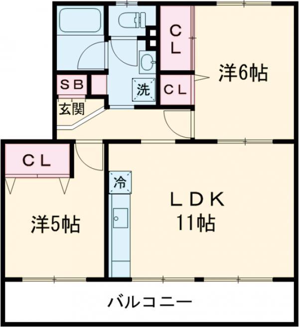 町田コープタウン11号棟・403号室の間取り