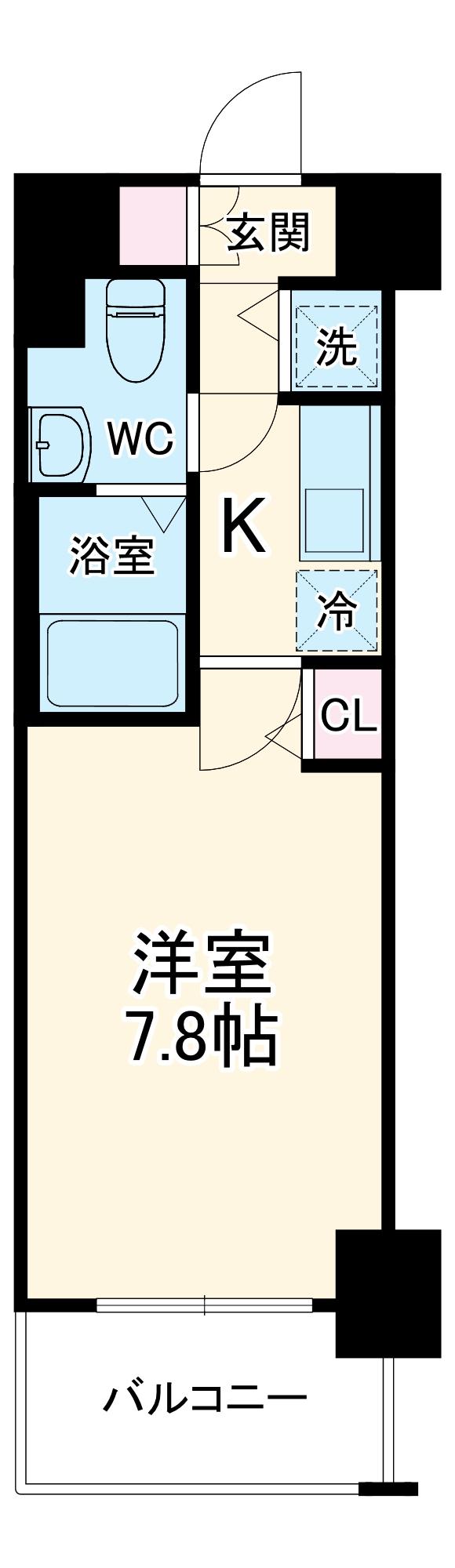 グランド・ガーラ横浜伊勢佐木町・814号室の間取り