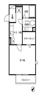 グラフィアス湘南・201号室の間取り