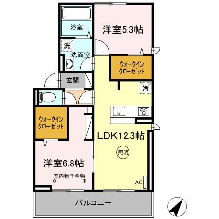 (仮)D-room片峰中央 201号室の間取り
