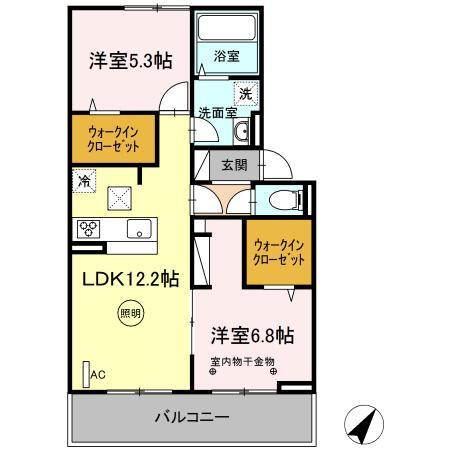 (仮)D-room片峰中央 205号室の間取り