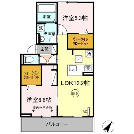 (仮)D-room片峰中央 206号室の間取り