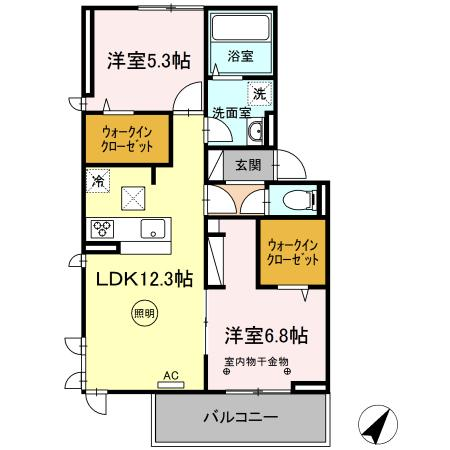 (仮)D-room片峰中央 307号室の間取り