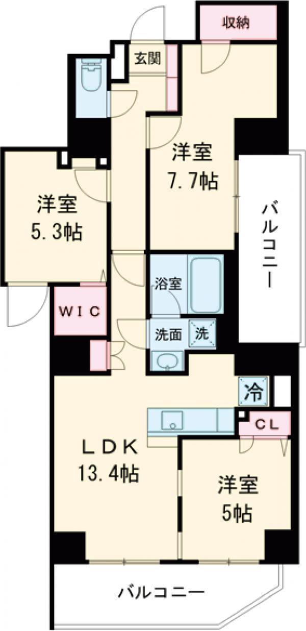 ロイジェント上野桜木・501号室の間取り