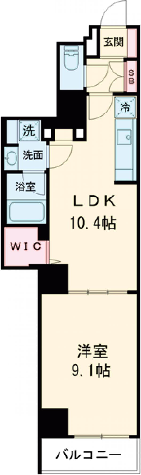 ロイジェント上野桜木・401号室の間取り