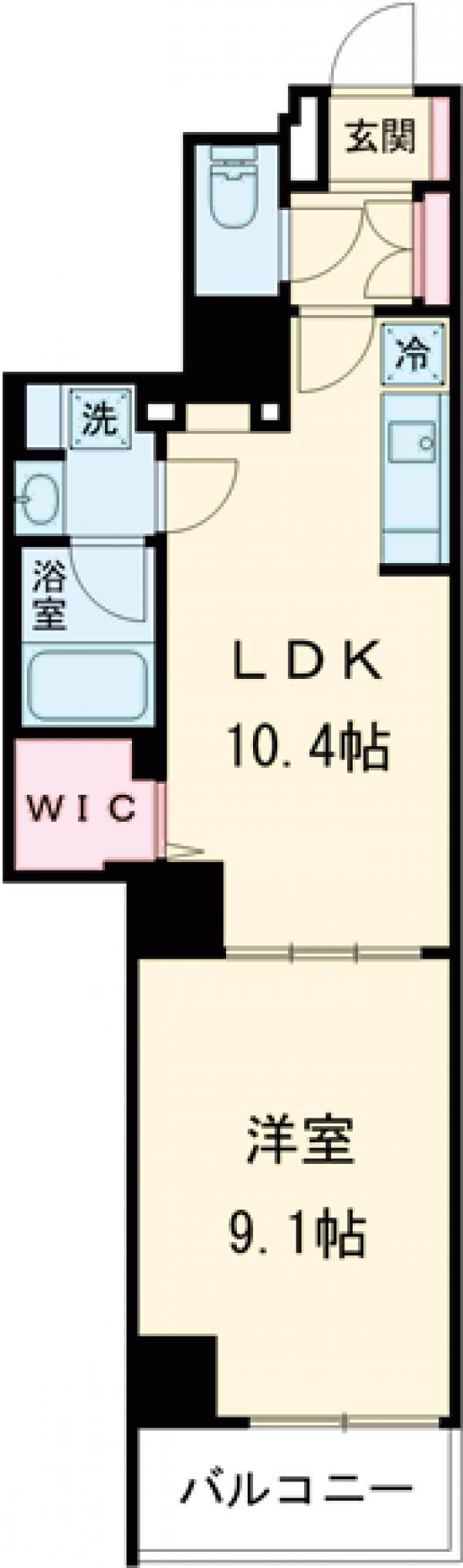 ロイジェント上野桜木・201号室の間取り