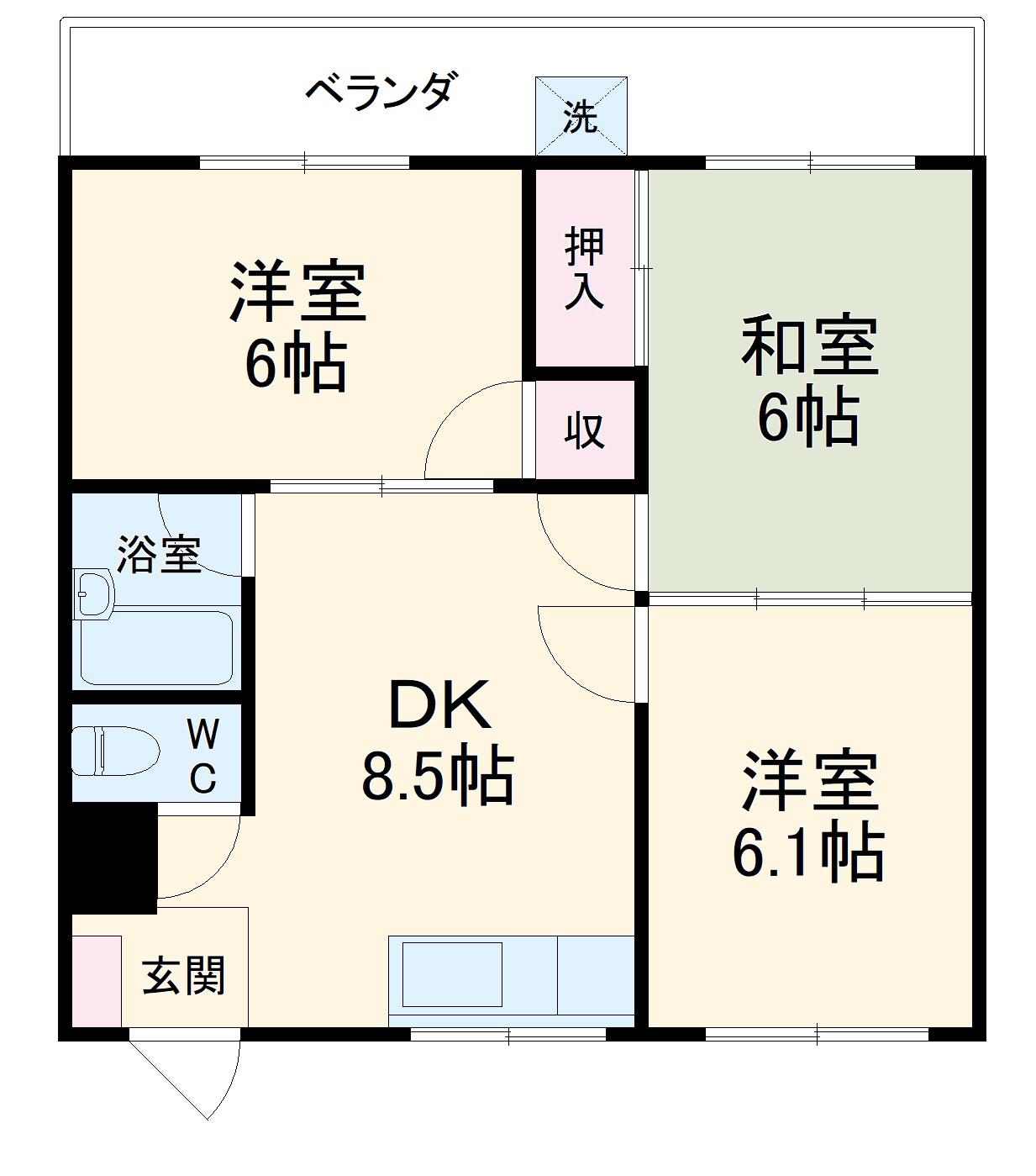山川マンション・406号室の間取り